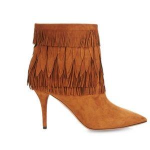 Aquazzura layered fringe suede ankle boots 35